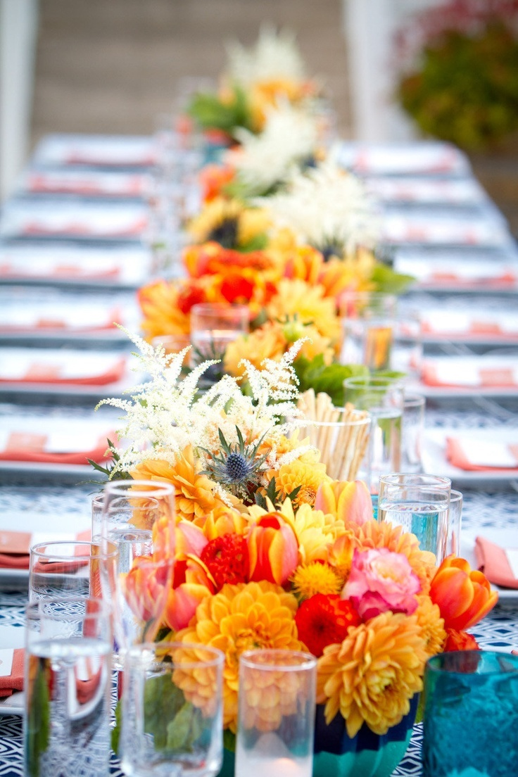 bright and colorful summer tablescape-great for all types of weddings and events!