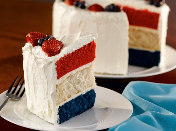 is perfectly patriotic about this cake. From the red white and blue ...