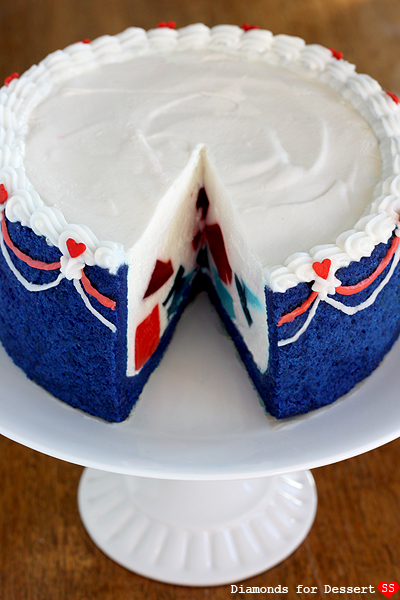 How cute is this red white and blue cake? I love the jello jigglers ...