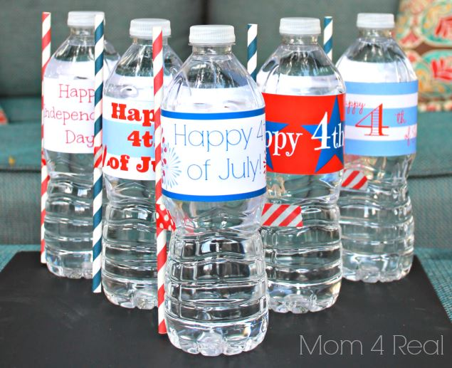 Free Happy 4th of July water bottle lables