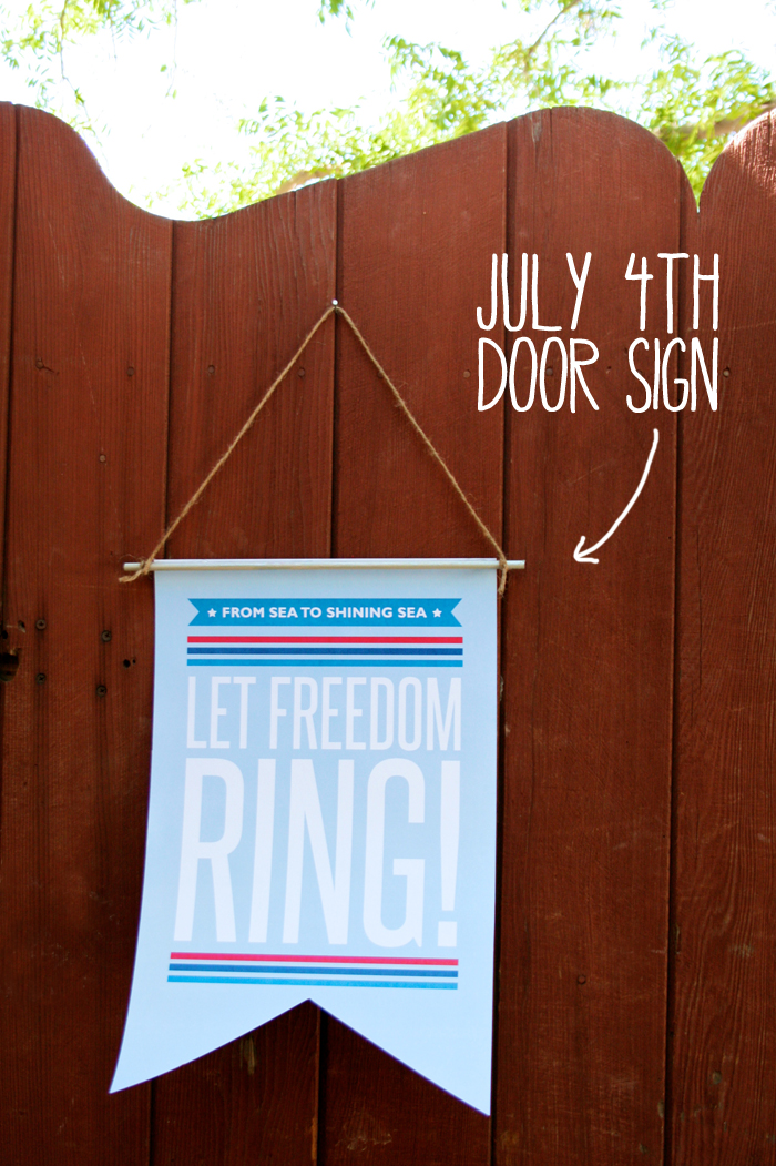 Free July Fourth Door Sign Decor