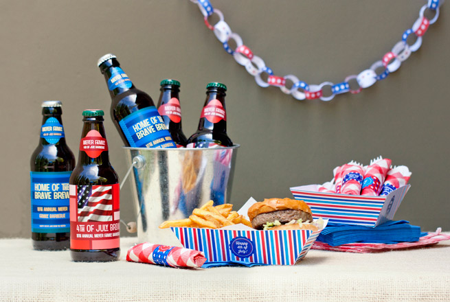Free lables, baskets and napkin ring printables for 4th of July