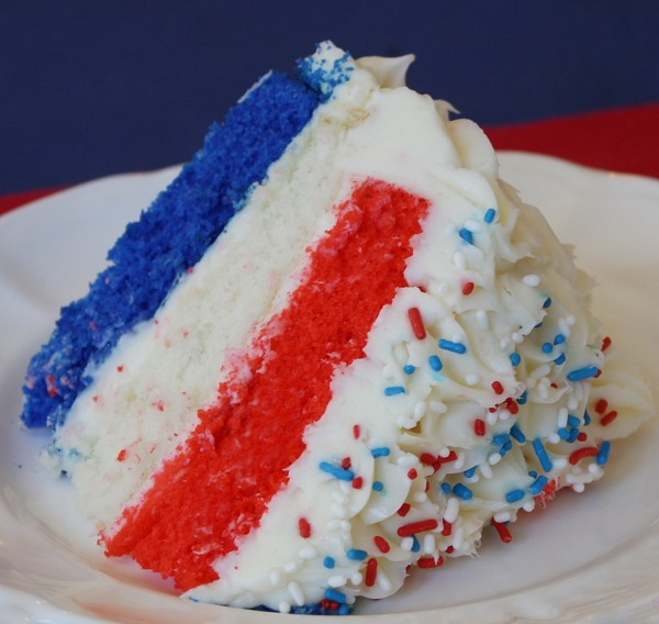 This is just red, white and blue cake fun! The frosting and sprinkles ...