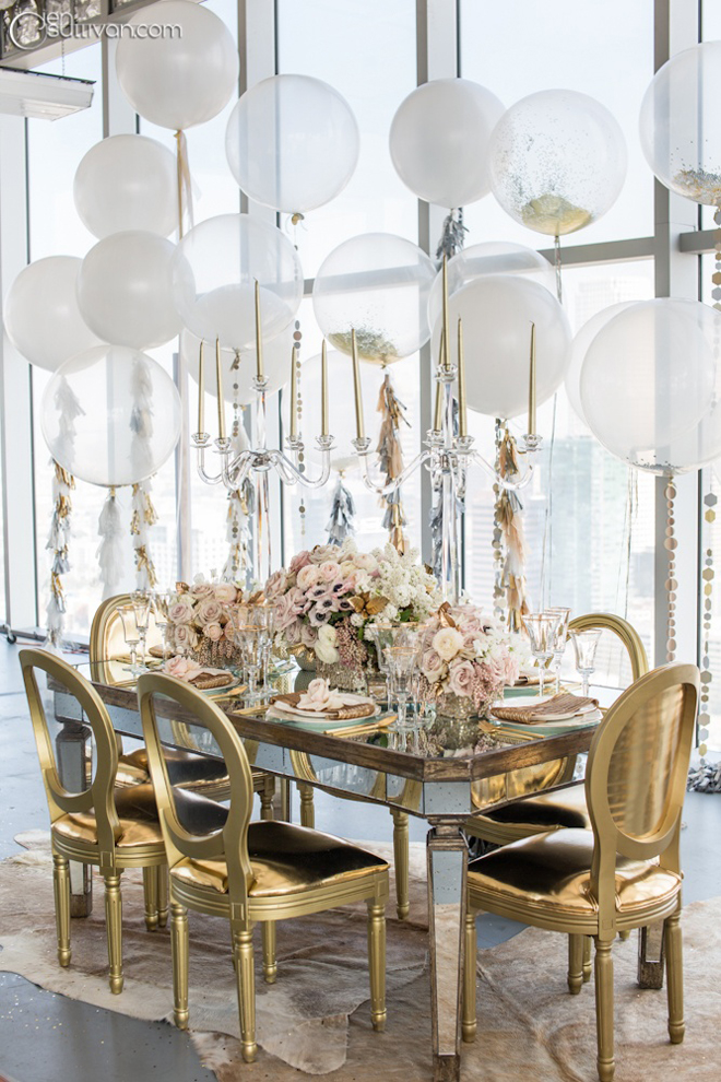 Gorgeous metallic tablescape with gold and silver