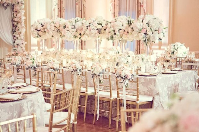 Gorgeous romantic pink and white wedding tablescape