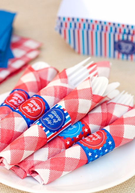 happy 4th of July napkin free printable napkin rings