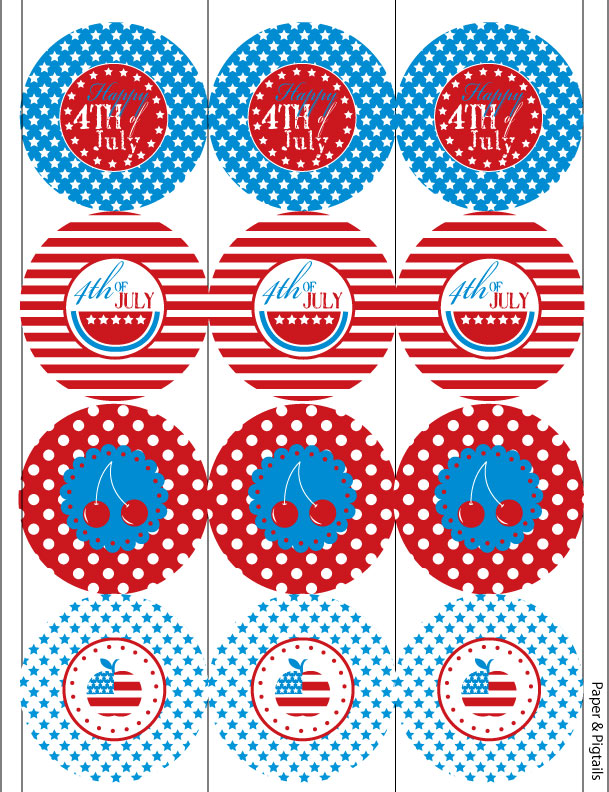July 4th free printable circles
