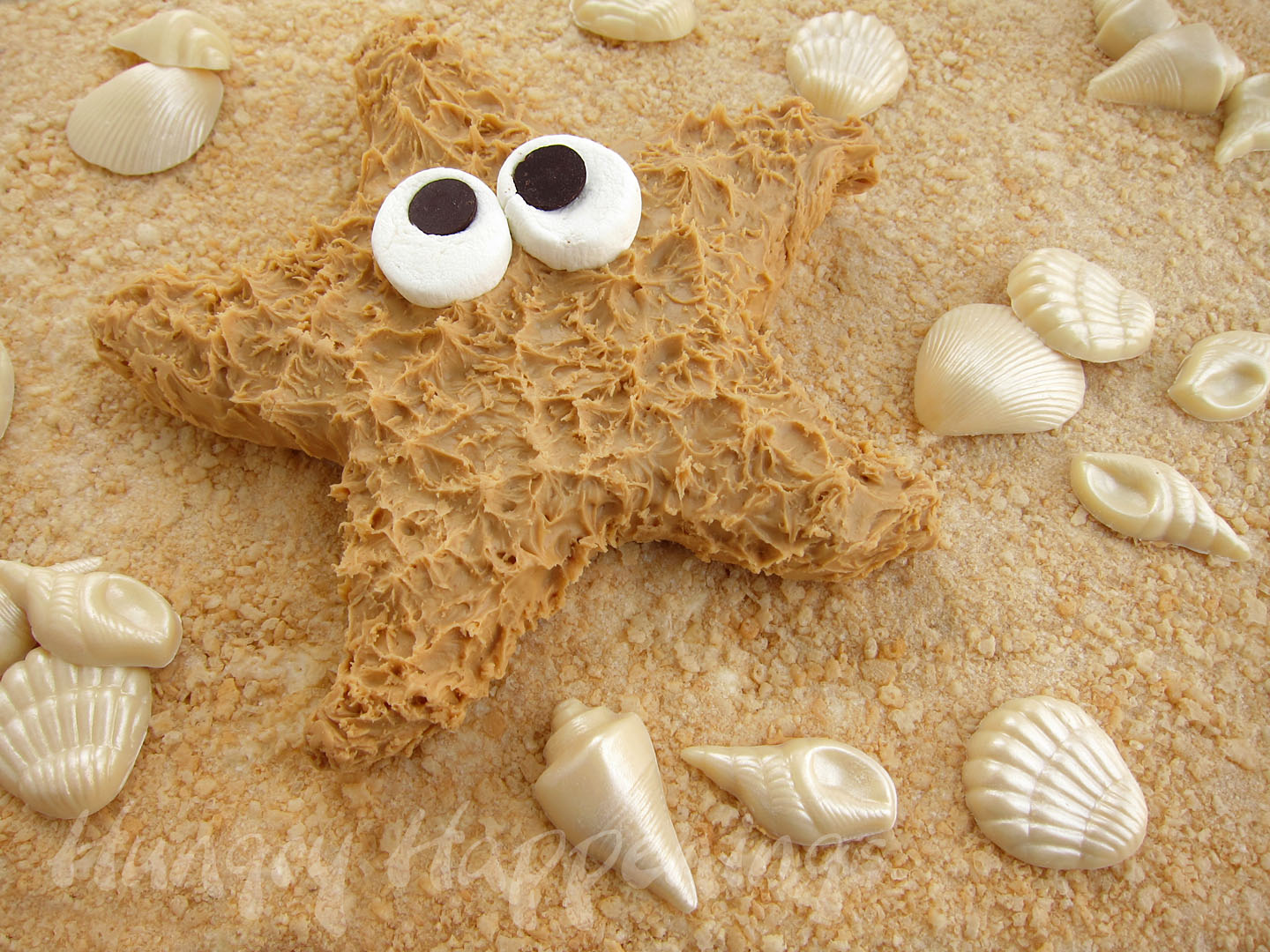 Peanut Butter Fudge Starfish, summer recipe, recipes, beach themed party food, pool party desserts