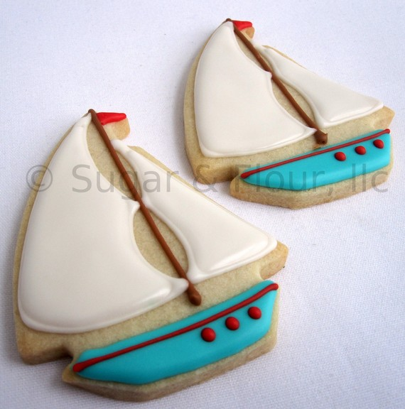 Sailboat cookies for a pool and beach party