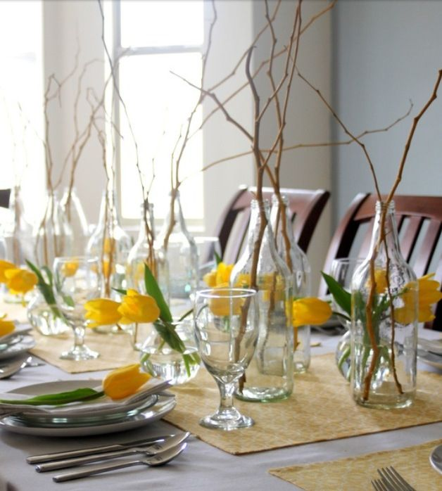 simple and easy rustic spring centerpieces and tablescape