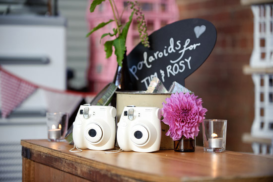 Simple polaroid photo guestbook display