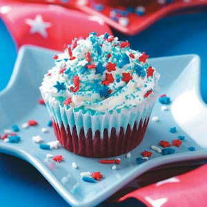 star sprinkled cupcakes for 4th of July