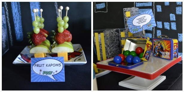 super favors and fruit for superhero Father's Day party