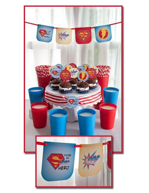 superhero Father's Day free printables and cupcakes