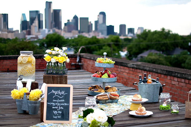 Urban Rooftop Picnic Wedding Theme