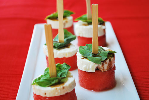 watermelon and feta appetizer for summer bbq