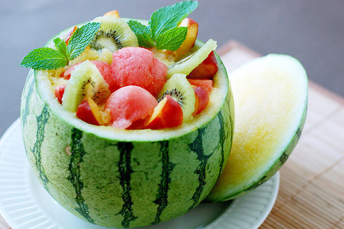 Watermelon bowl for fruits and sorbets for summer bbq