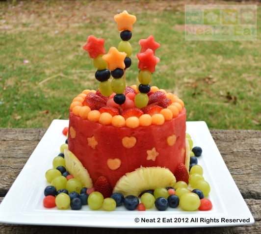 Watermelon fruit cake for summer bbq