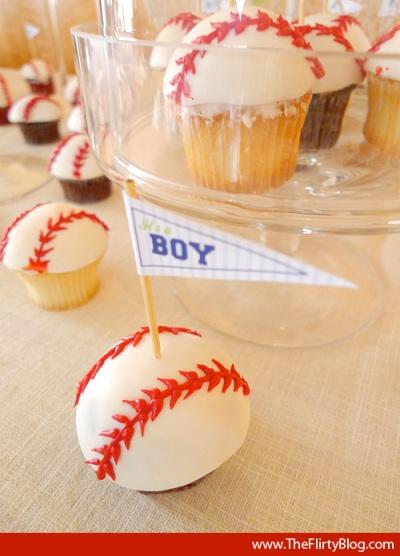 baby boy baseball cupcakes