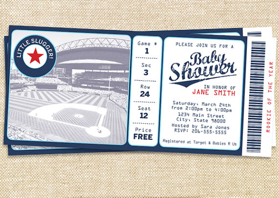 Baseball baby shower invitation for the little slugger!