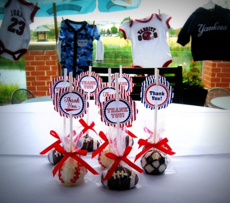 Perfect Sports Themed Cake Pops For Boys Baby Shower