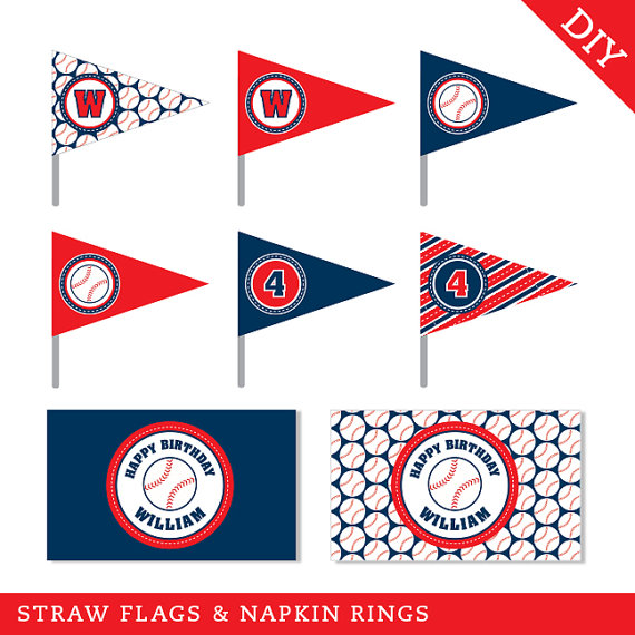 Baseball party printable straw flags and napkin rings