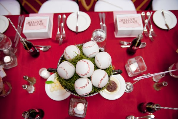 baseball wedding centerpiece that is too cute for words!
