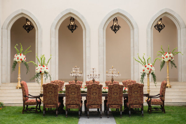 beautiful regal outdoor tablescape