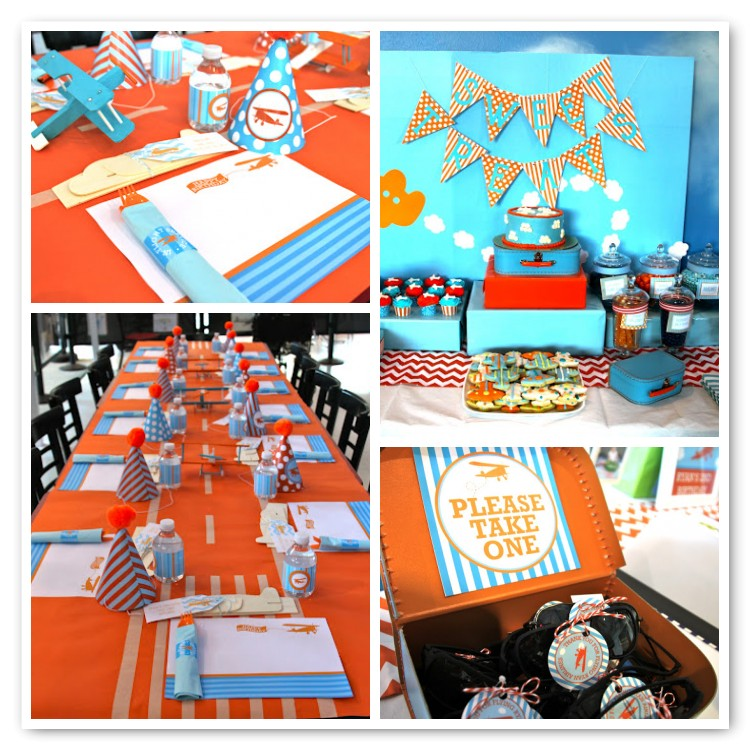 blue and orange airplane party-totally lovely!
