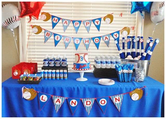 boys baseball birthday party table