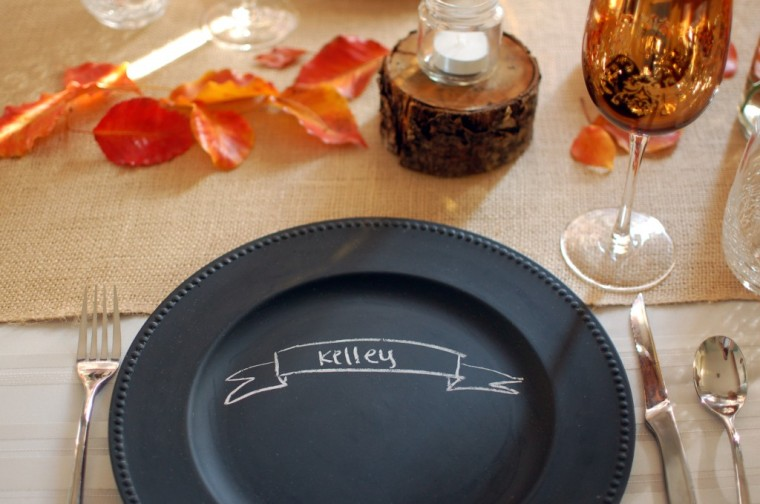 Chalkboard charger plate with a lovely beaded rim