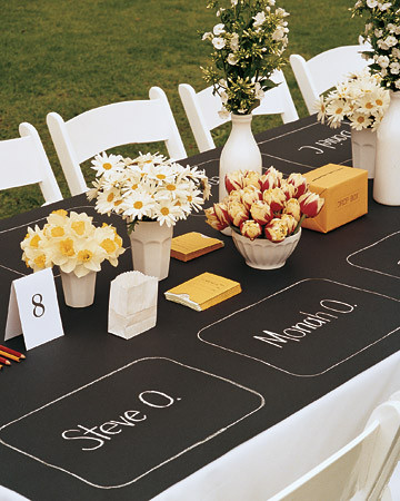 chalkboard paper cloth-amazing for summer get togethers!