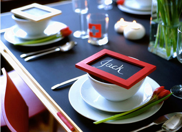chalkboard placecards for a lovely dinner party