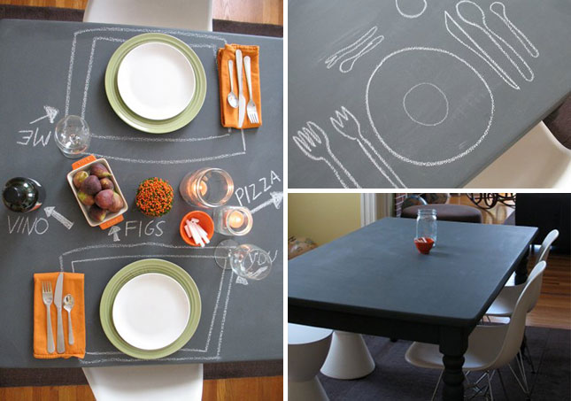 DIY Chalkboard table party ideas