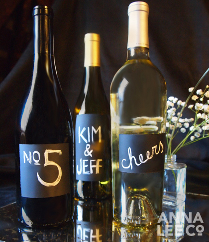 wine bottle chalkboard labels for get togethers