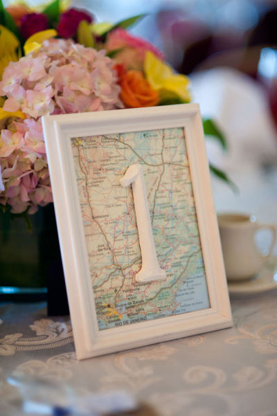 Darling map table number for a travel wedding