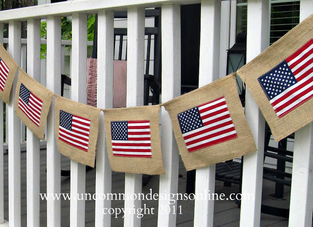 DIY 4th of july burlap flag banner