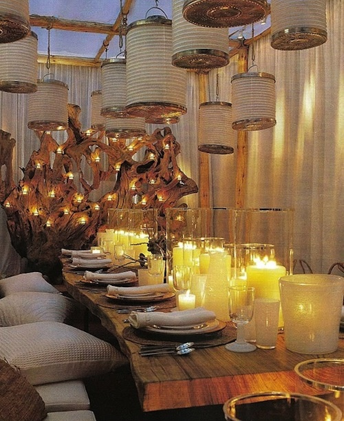 Earthy Candlelit tablescape-great for house get togethers and wine nights!