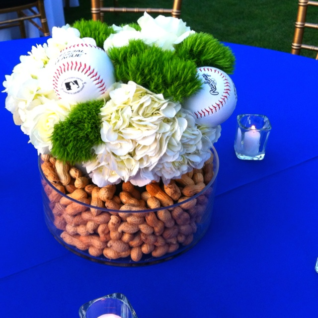 Fabulous baseball centerpiece {especially for a wedding!}