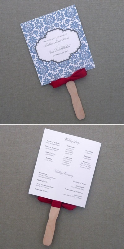 Free Wedding Fan Programs And Paddle Template