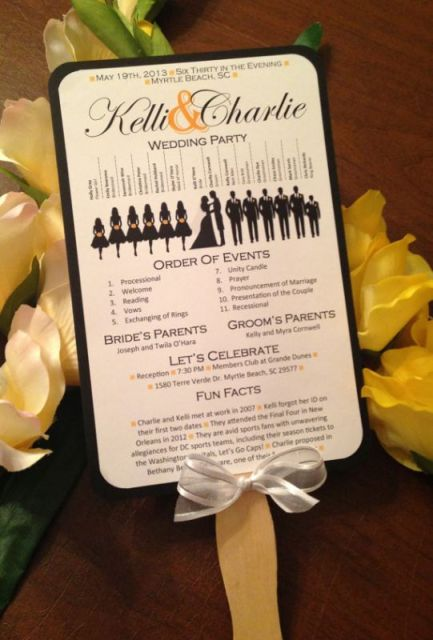 free wedding fan programs and Free wedding program with bridal party silhouettes