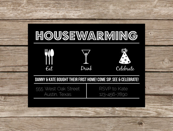 Housewarming modern retro invitation