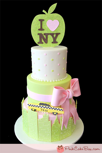 Gee!! How lovely is this New York City Baby shower cake from Pink Cake ...