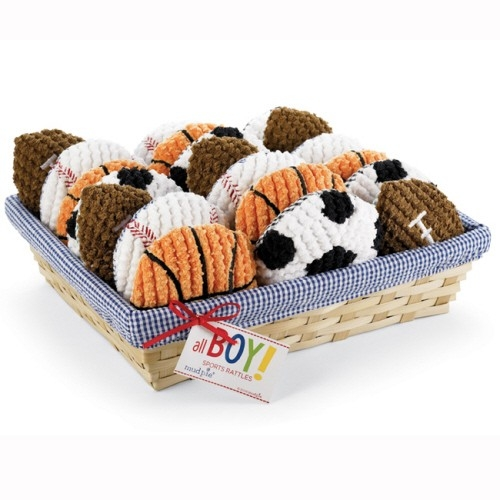 little sports baby baseball rattles-so lovely for a baby shower!