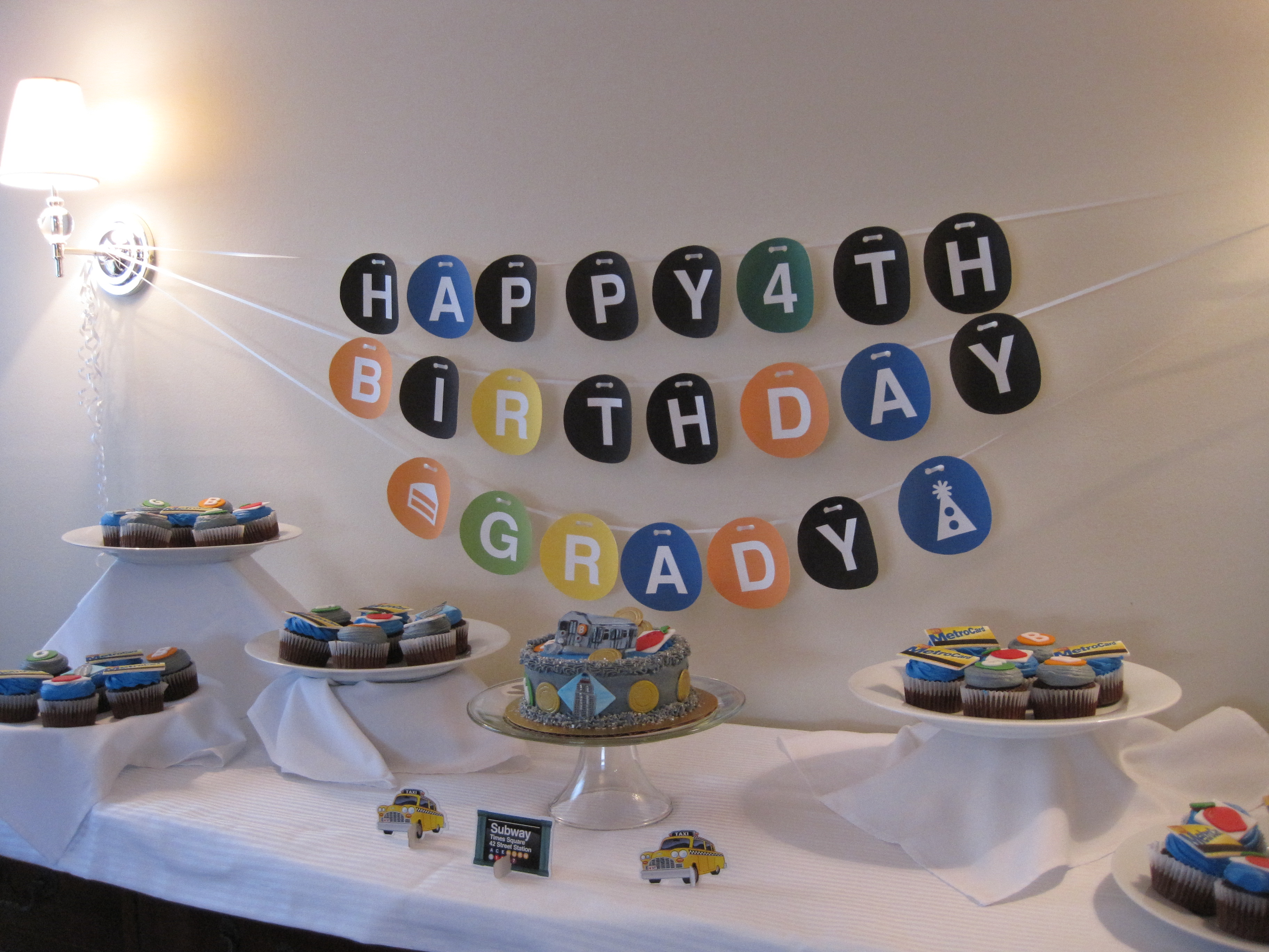 Love this Subway themed boys birthday dessert table