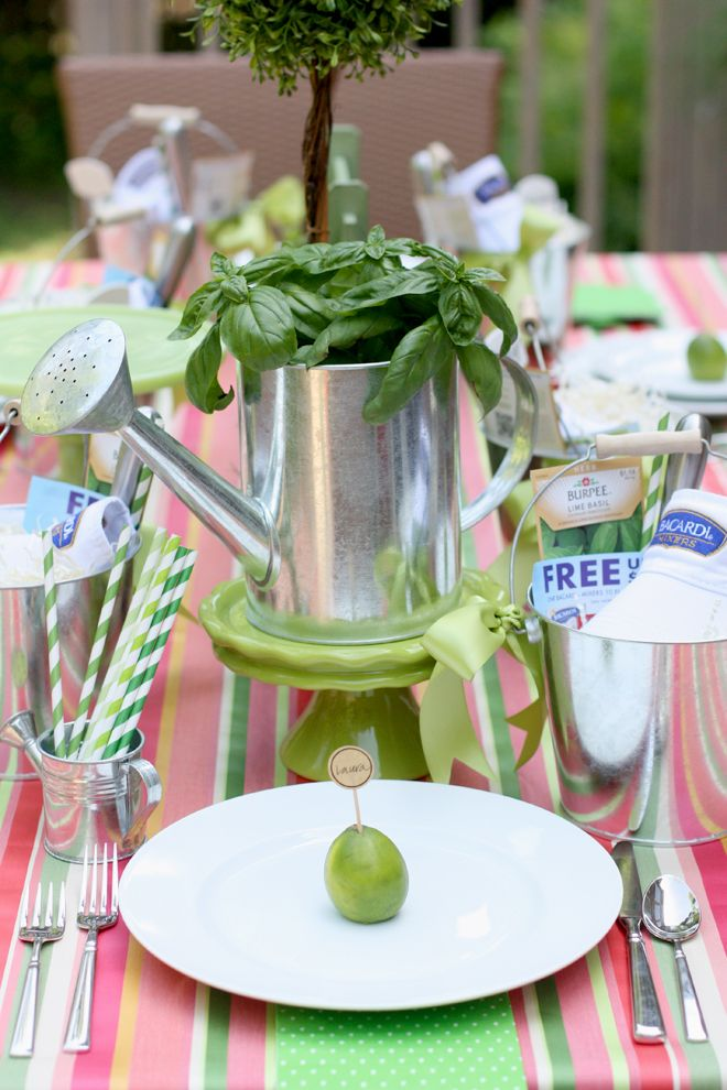 lovely green and white themed summer party with too cute details
