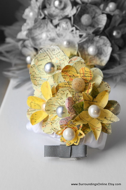 Map flower wedding corsage for moms