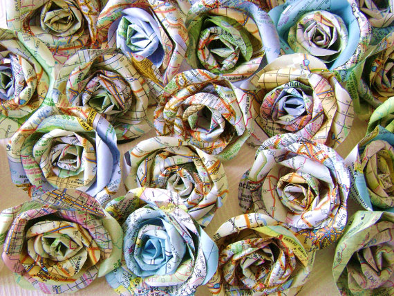 Map roses for a travel party-perfect!