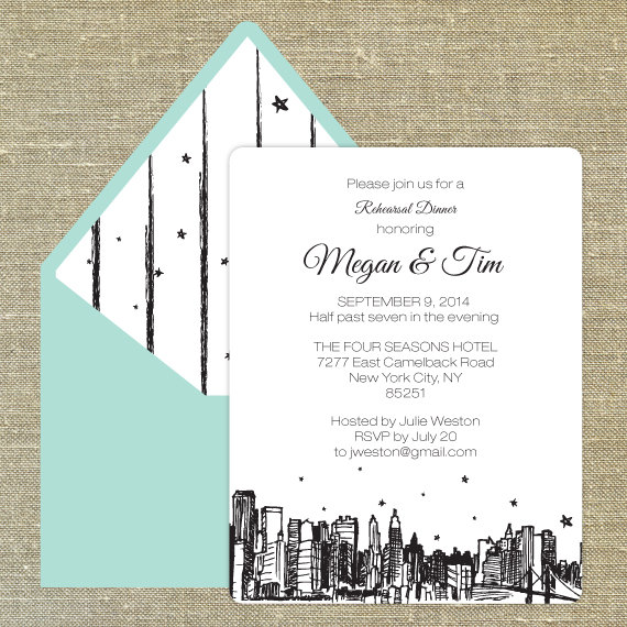 New York City themed rehearsal dinner invitation