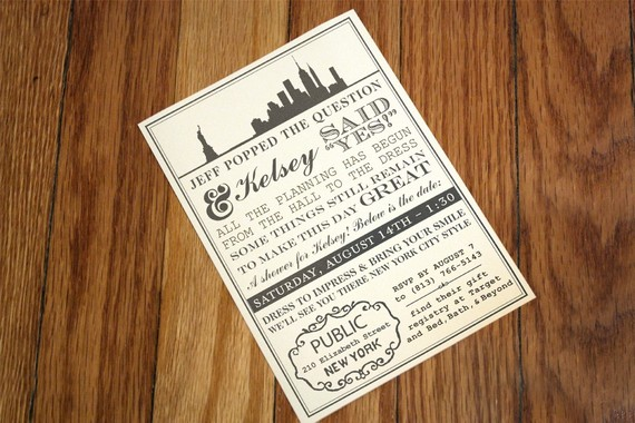 New York themed bridal shower invitation